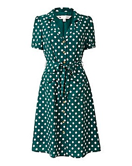 Yumi Curves Polka Dot Shirt Dress