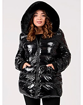 Lovedrobe Black Shiny Padded Coat