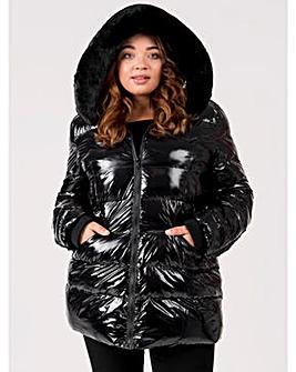 Lovedrobe Black Shiny Padded Coat