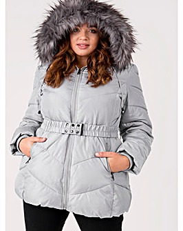 Lovedrobe Grey Belted Padded Coat
