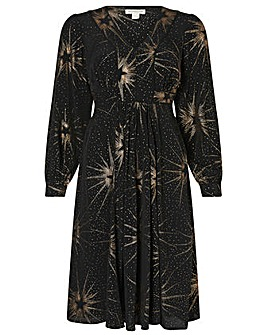 Monsoon Star Foil Print Midi Dress