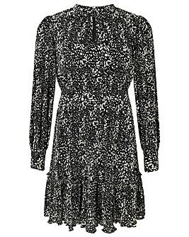 Monsoon Printed Pliss Tiered Short Dress