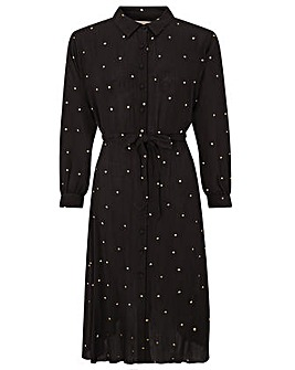 Monsoon Embroidered Spot Midi Dress
