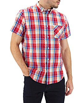 Red Check Seersucker Short Sleeve Shirt