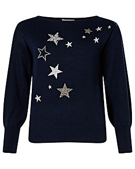 Monsoon Recycled Polyester Star Jumper