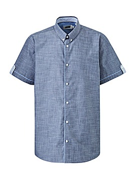 Grey Chambray Short Sleeve Shirt Long