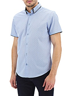 Blue Print Double Collar Short Sleeve Shirt