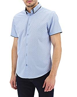 Blue Print Double Collar Shirt