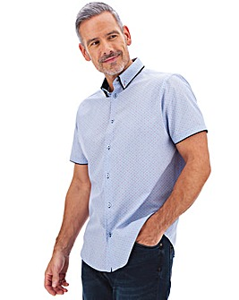 Blue Print Double Collar Shirt