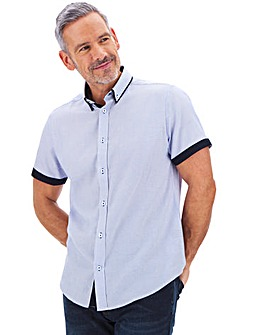 Blue Geo Print Double Collar Shirt