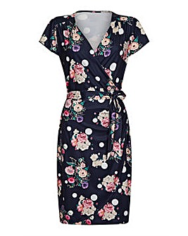 Yumi Curves Spot Floral Wrap Dress