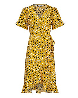 Yumi Curves Smudged Animal Print Wrap Dress