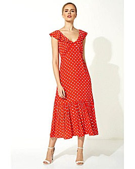 Roman Polka Dot Frilly Midi Dress