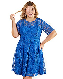 Yumi Curves Bright Lace Floral Skater Dr