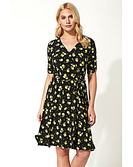 Roman Lemon Print Wrap Dress