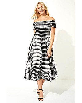 Roman Gingham Bardot Fit and Flare Dress
