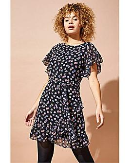 Roman Floral Print Frill Hem Dress