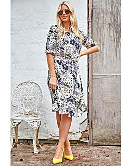 Roman Floral Mixed Print Frill Hem Tea Dress