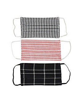 Yumi Check Face Coverings Pack of 3