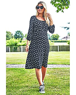 Roman Square Neck Spot Daisy Print Dress