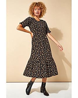 Roman Ditsy Floral Tiered Midi Dress