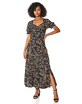 Roman Ditsy Floral Ruched Midi dress