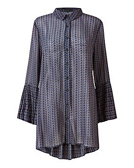 Mela London Curve Geometric Button Tunic Dress
