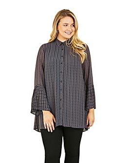 Mela London Curve Geometric Button Tunic Dress