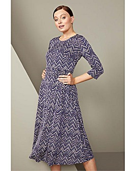 Roman Zig Zag Print Midi Dress
