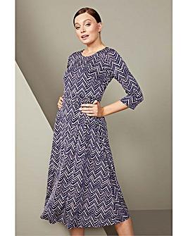 Roman Zig Zag Print Midi Dress