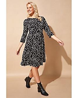Roman Spot Print Pleat Waist Skater Dress