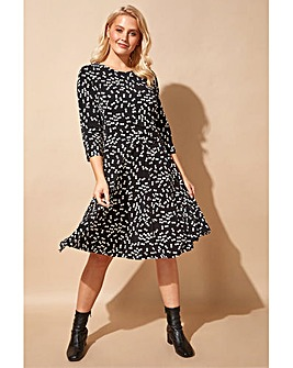 Roman Spot Print Pleat Waist Skater Dress