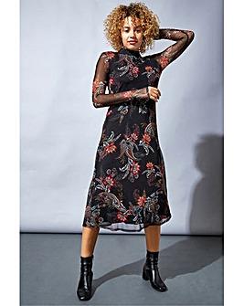 Roman Mixed Print High-Neck Midi Dress