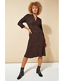 Roman Animal Print V-Neck Fit & Flare Dress