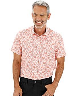 Red Floral Print Short Sleeve Shirt Long
