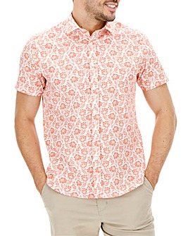 Red Floral Print Short Sleeve Shirt Long