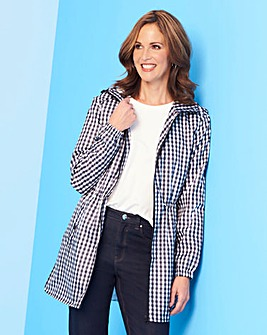 Gingham Print Contrast Zip Pac a Parka with Adjustable Waist