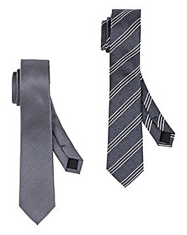 Grey/Stripe Pack of 2 Slim Ties