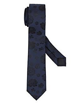 Dark Navy Floral Slim Tie