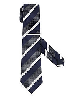 Navy Stripe Tie with metal clip
