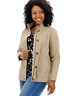 Sand Stretch Cotton Utility Jacket