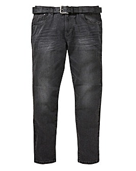 Blackwash Tapered Jeans with Belt