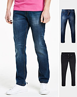 Black & Indigo Pack of 2 Tapered Jeans