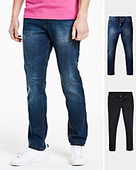Black & Indigo Pack of 2 Tapered Jeans