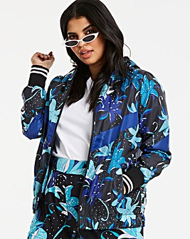 Graphic Floral Print Sporty Jacket