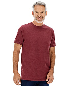 Red Marl Roll Sleeve T-Shirt