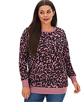 Leopard Placement Sweatshirt