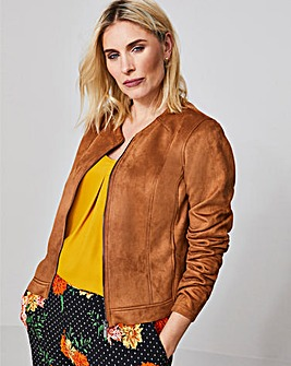 Collarless Zip Suede Look Jacket