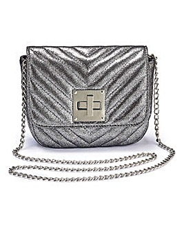Carrie Pewter Mini Quilted Shoulder Bag