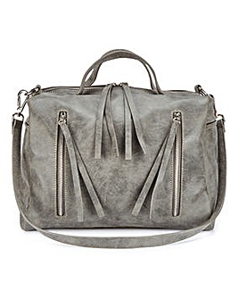 Zip Detail Bowler Bag
